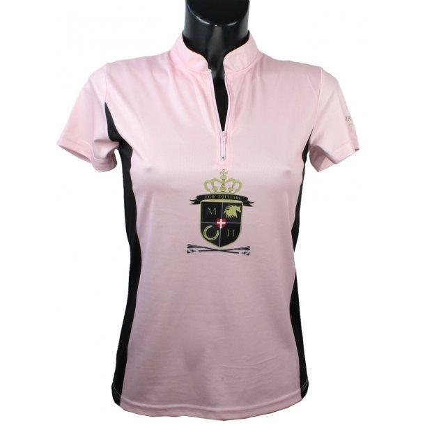 Zip Shirt i funktionsmateriale m. stort flot logo-tryk foran