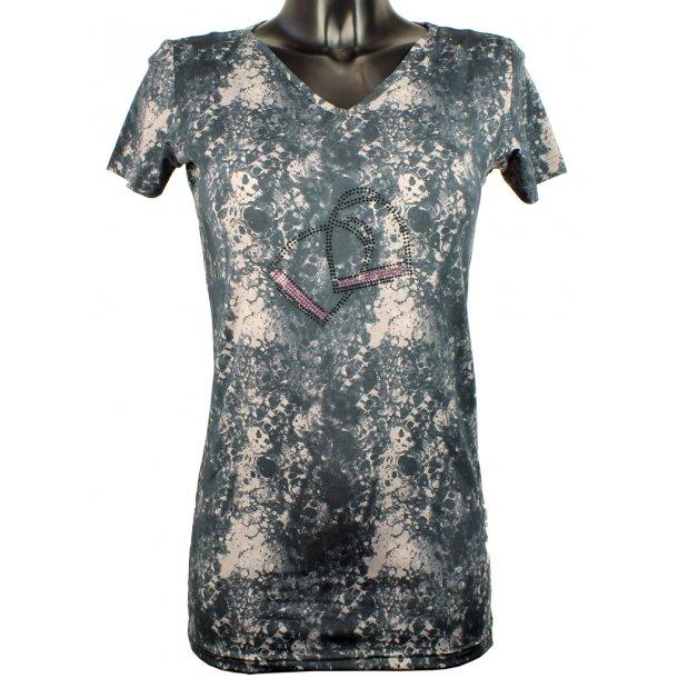 CRYSTAL STIRUP V-hals T-shirt i blødt teknisk materiale